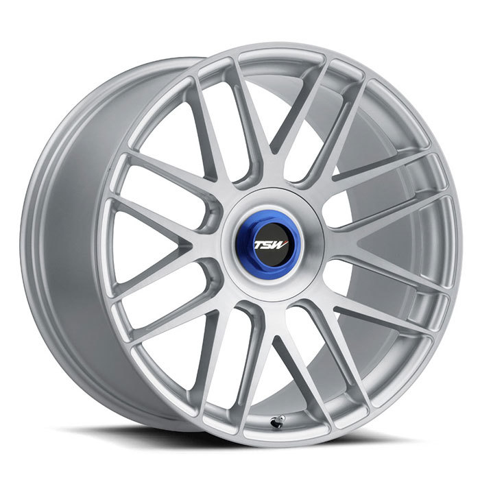 TSW Hockenheim-T Silver with Brushed Silver Face and Blue Locking Nut Finish Wheels