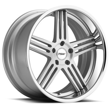 TSW Nouvelle Wheels - Silver with Brushed Face and Chrome Stainless Lip Finish