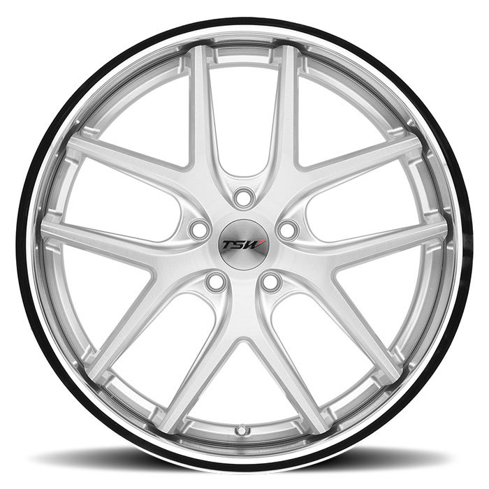 TSW Portier Wheels - Silver with Brushed Face and Chrome Stainless Lip Finish