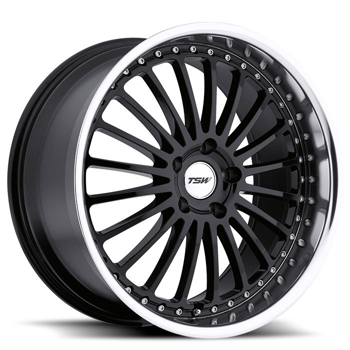 TSW Silverstone Gloss Black with Mirror Cut Lip Wheels - Standard
