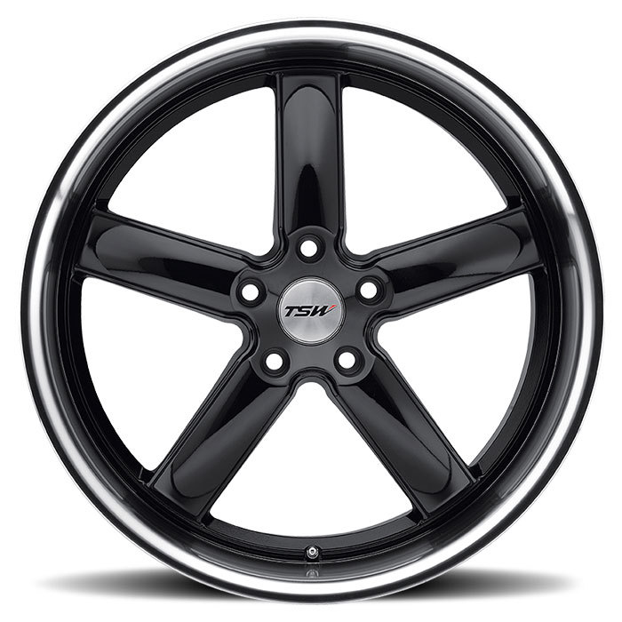 TSW Stowe Gloss Black with Mirror Cut Lip Wheels - Face