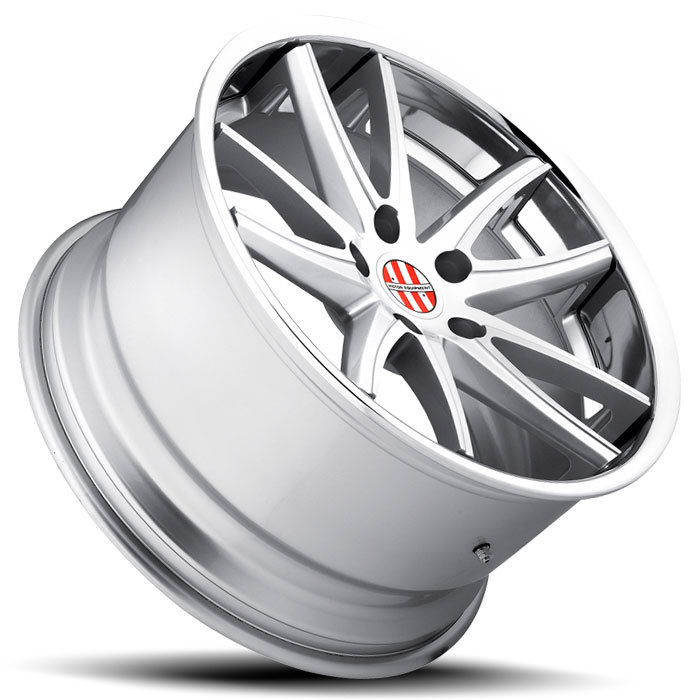Victor Equipment Kronen Silver with Brushed Face and Chrome Lip Porsche Wheels - Lay