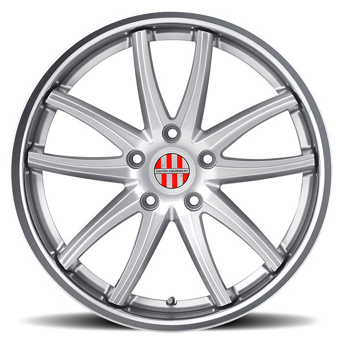Victor Equipment Kronen Silver with Brushed Face and Chrome Lip Porsche Wheels - Standard
