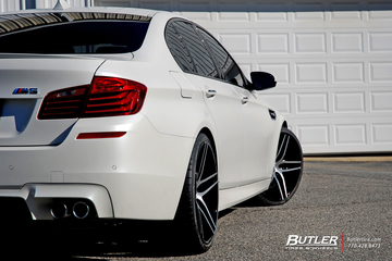 Frozen White BMW M5 with 21in Lexani Forged LZ-105 Wheels