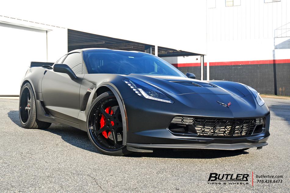 matte black chevy c7 corvette on custom 21in forgiato quinto wheels - 2015 Corvette Stingray Matte Black