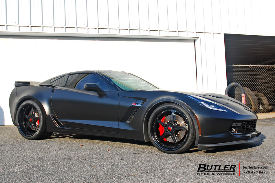 Commercial Tire Sizes >> Matte Black Chevy C7 Corvette on Custom 21in Forgiato Quinto Wheels - Trending at Butler Tires ...