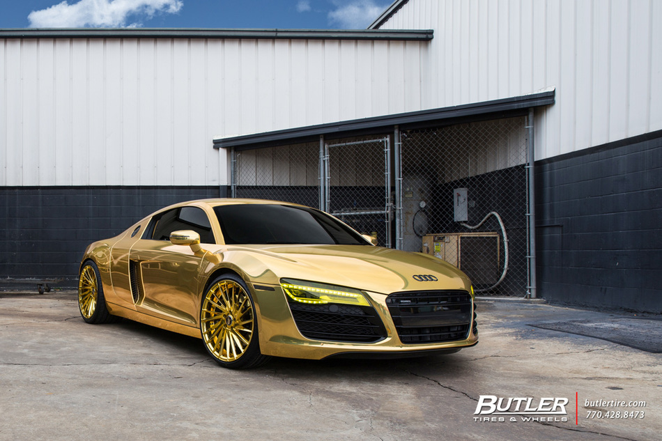 Audi R8 Gold With 22in Savini Sv64d Wheels And Toyo Tires Dennis Schroder 1