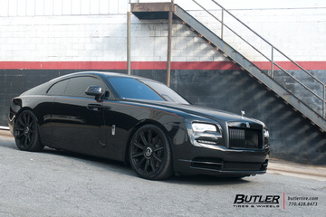 Lowered Rolls Royce Wraith on 22in AG Luxury AGL11 Wheels