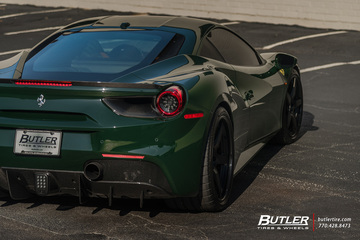 Lowered Verde Abetone Novitec Ferrari 488 GTB on HRE RS105 Wheels and Pirelli Tires