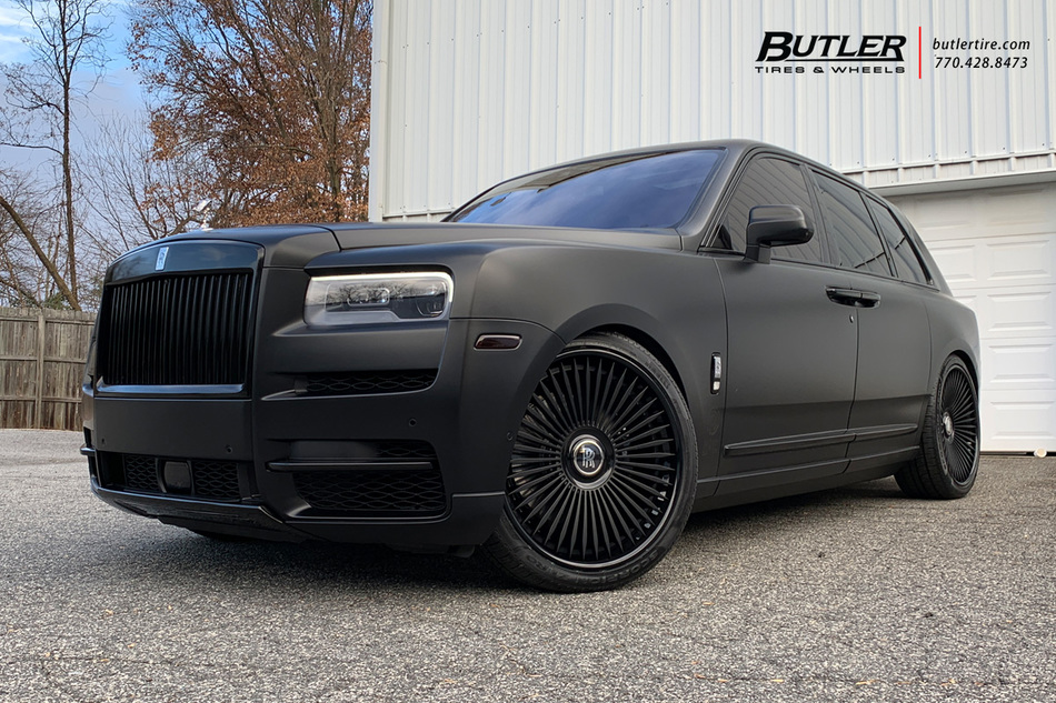 Rolls Royce Cullinan With 24in Ag Luxury Agl45 Wheels And Pirelli Tires Lowered 3
