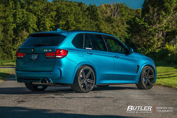Lowered BMW X5M with 22in Vossen HF-1 Wheels and Vredestein Tires