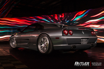 Lowered Ferrari F355 Berlinetta with 19in HRE Classic 300 Wheels and Michelin Pilot Sport 4s Tires